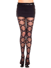 Sheer Black Criss Cross Pattern Hosiery Tights
