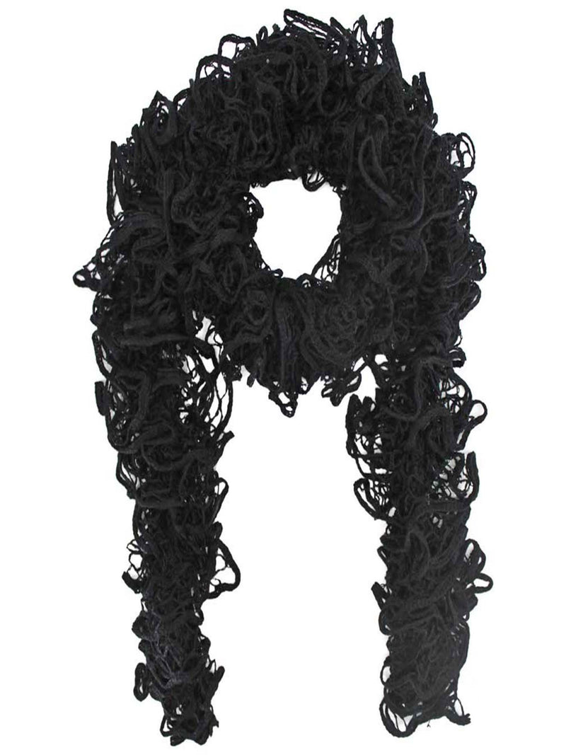 Black Soft Wispy Lace Knit Scarf