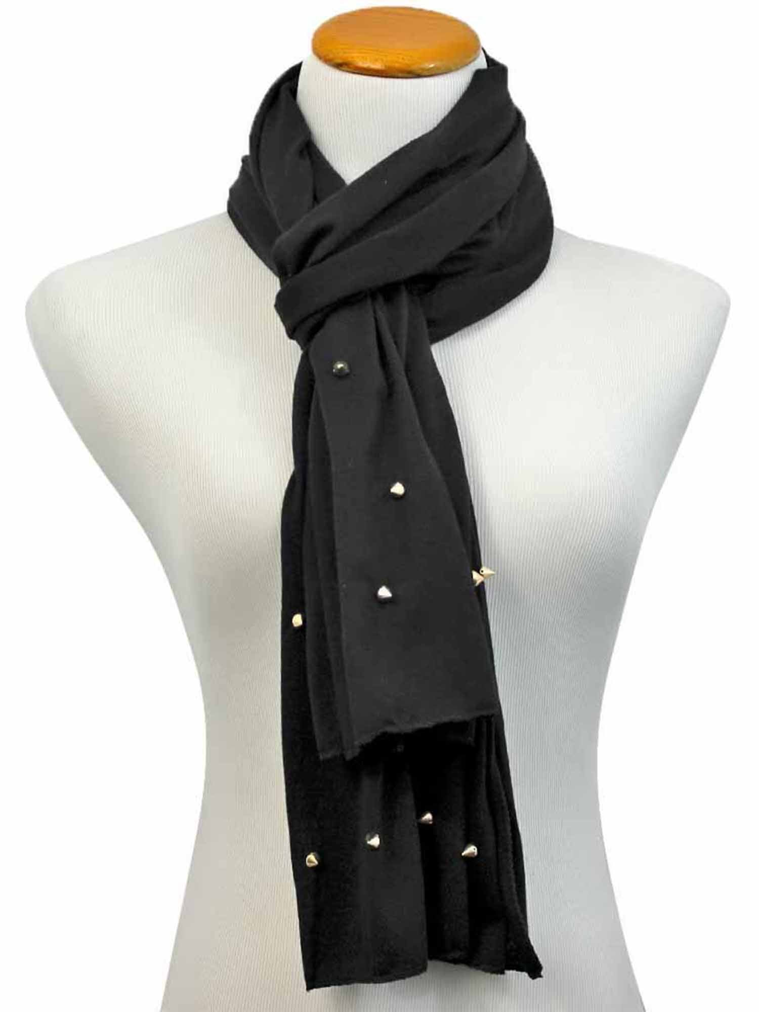 Jersey Knit Scarf Wrap With Spikes
