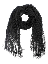 Metallic Pleated Long Fringed Scarf