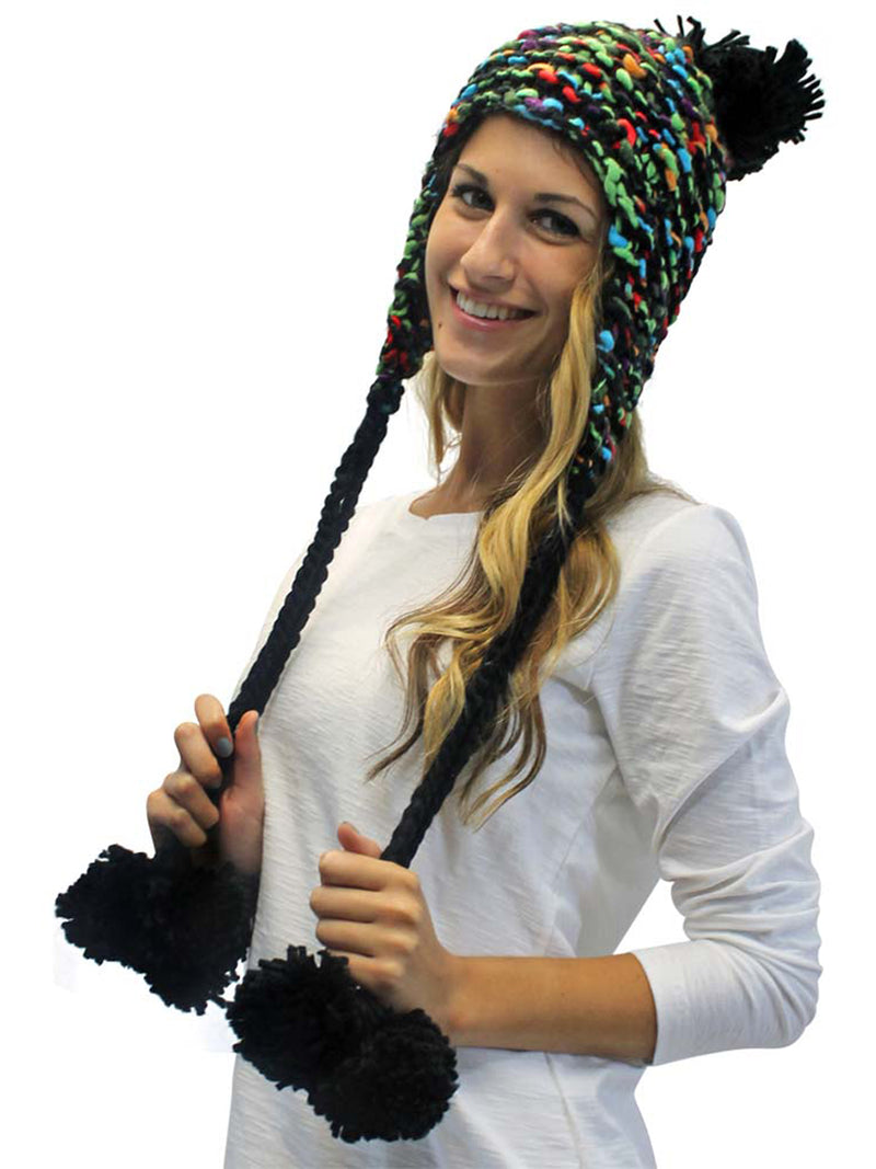 Thick Chunky Trapper Hat With Long Pom Poms