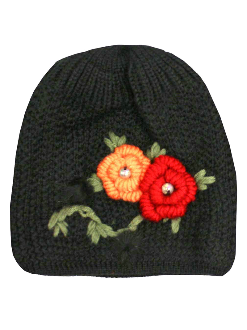 Knit 2 Piece Hat & Scarf Set With Floral Design