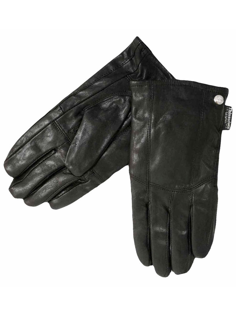 Mens Soft Black Leather 3M Thinsulate Winter Gloves