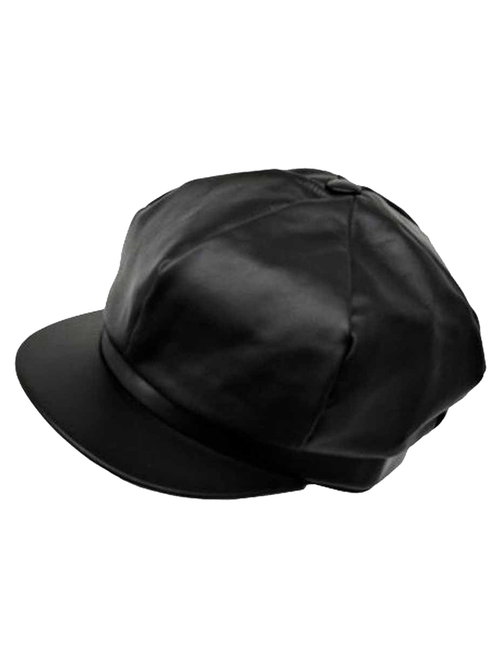 Genuine Leather 6 Panel Newsboy Cap Hat