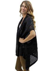 Black Open Knit Versatile Poncho Sweater Vest