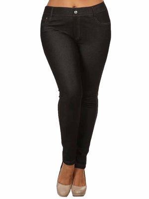 Stretchy Plus Size Jeggings With 5 Pockets