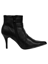 Black Western Womens Ankle Booties With Silver Buckle