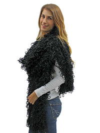 Black Loop Knit Long Shawl Scarf Wrap