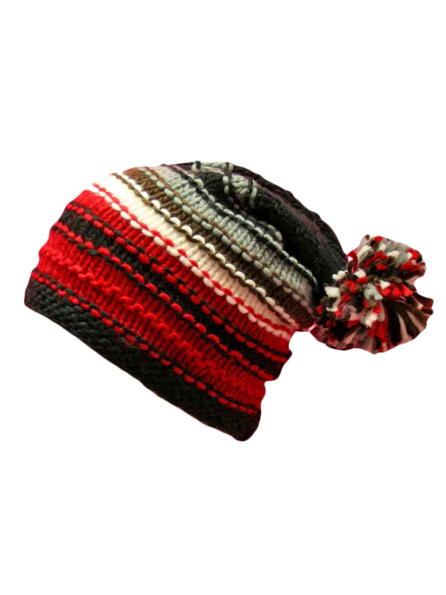 Multicolor Striped Knit Beanie Hat