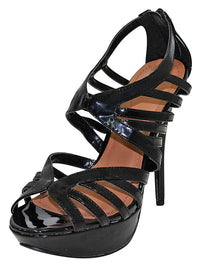 Womens Black Patent Leather Strappy Sandal Pumps