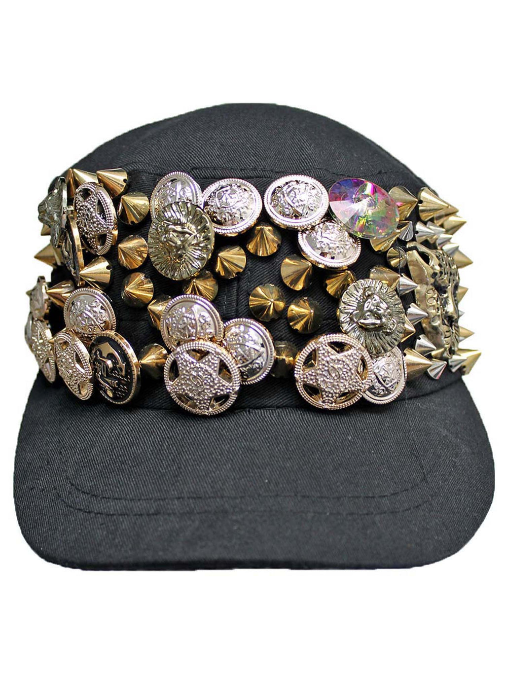 Black Cadet Cap Hat With Gold Spikes & Buttons