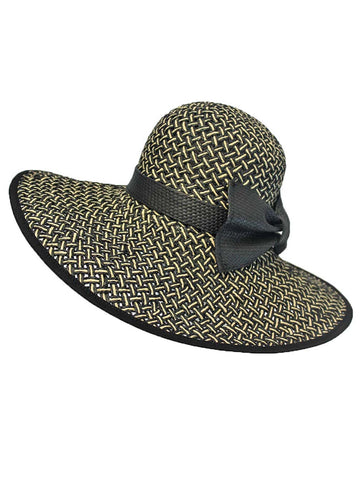 Black & Tan Woven Braided Straw Hat