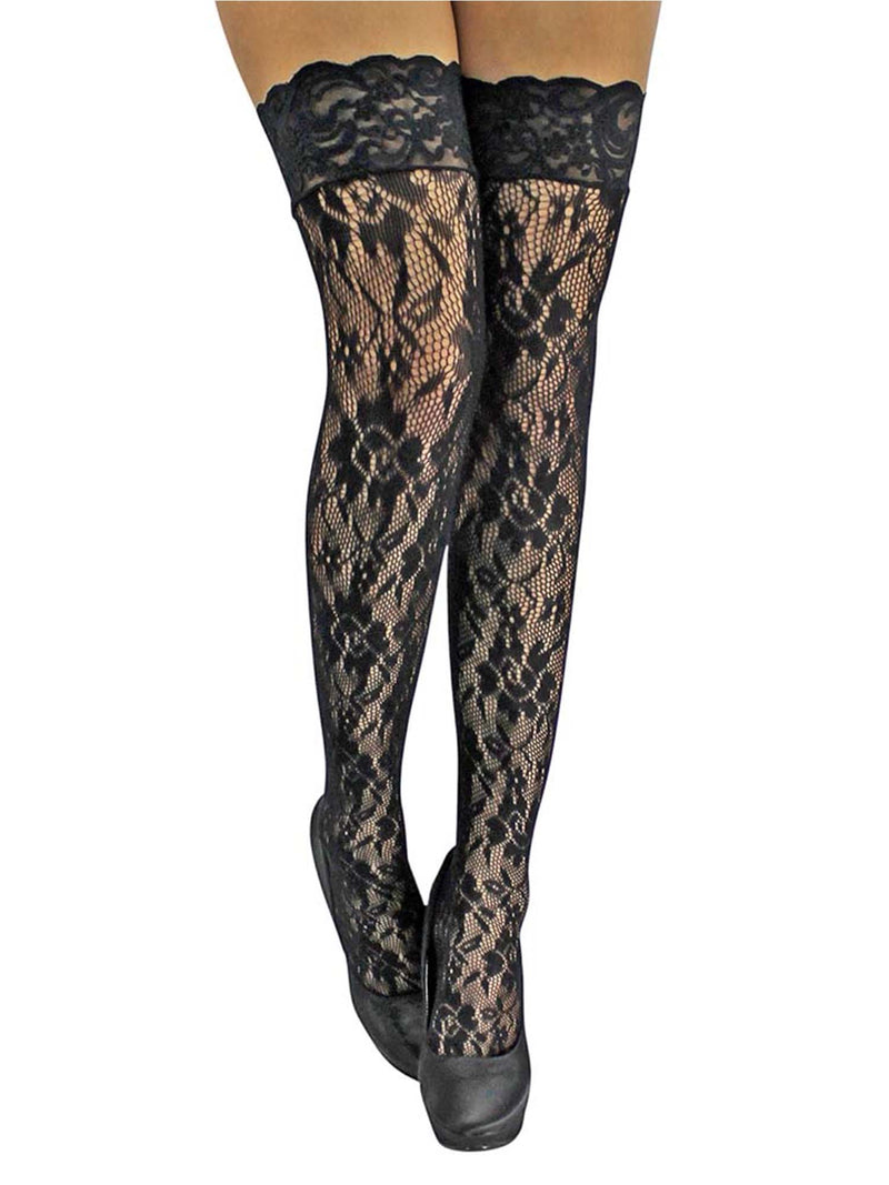 Black Floral Lace Thigh High Stockings