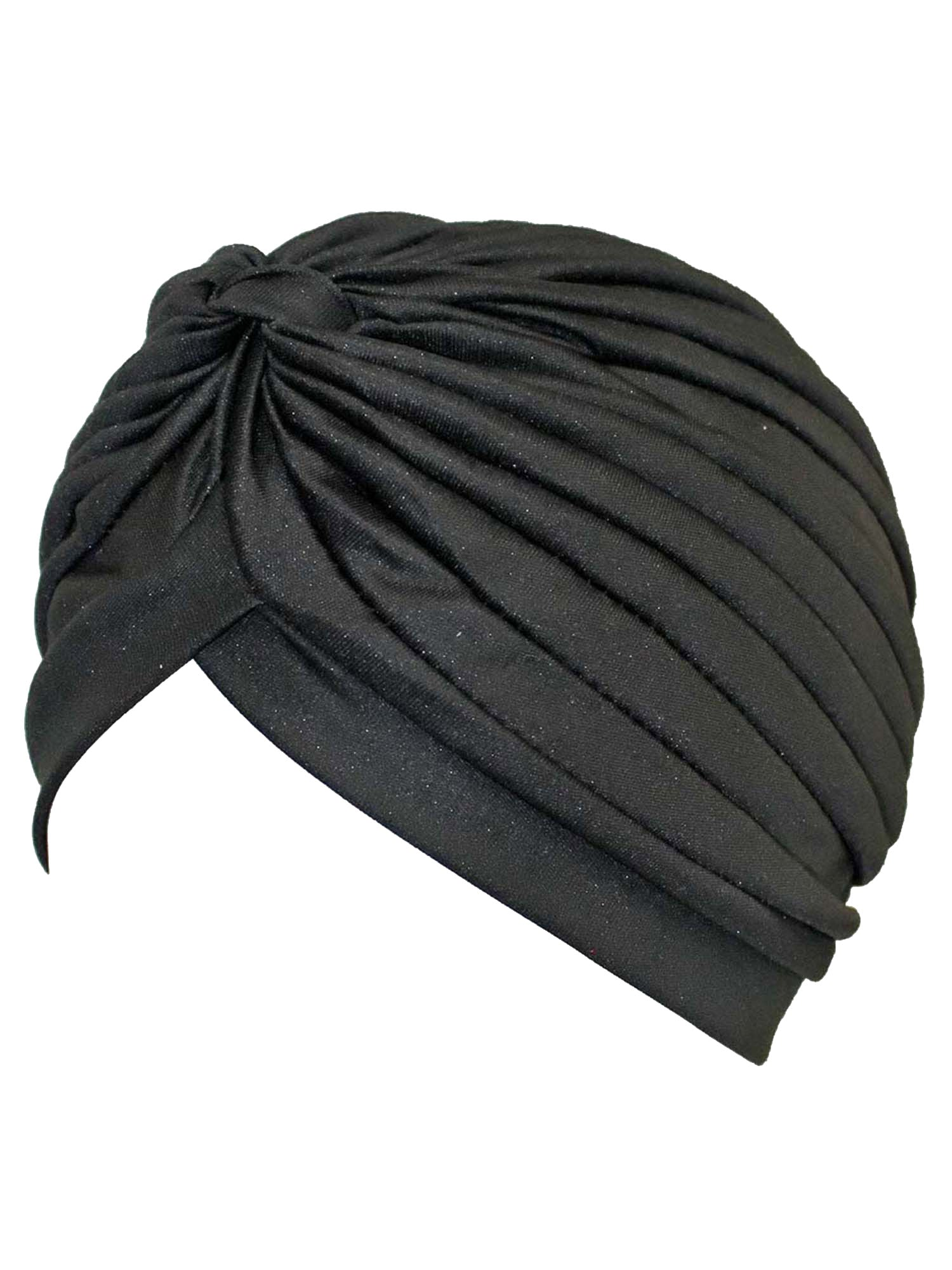 Black Spandex Pleated Turban Head Wrap For Women
