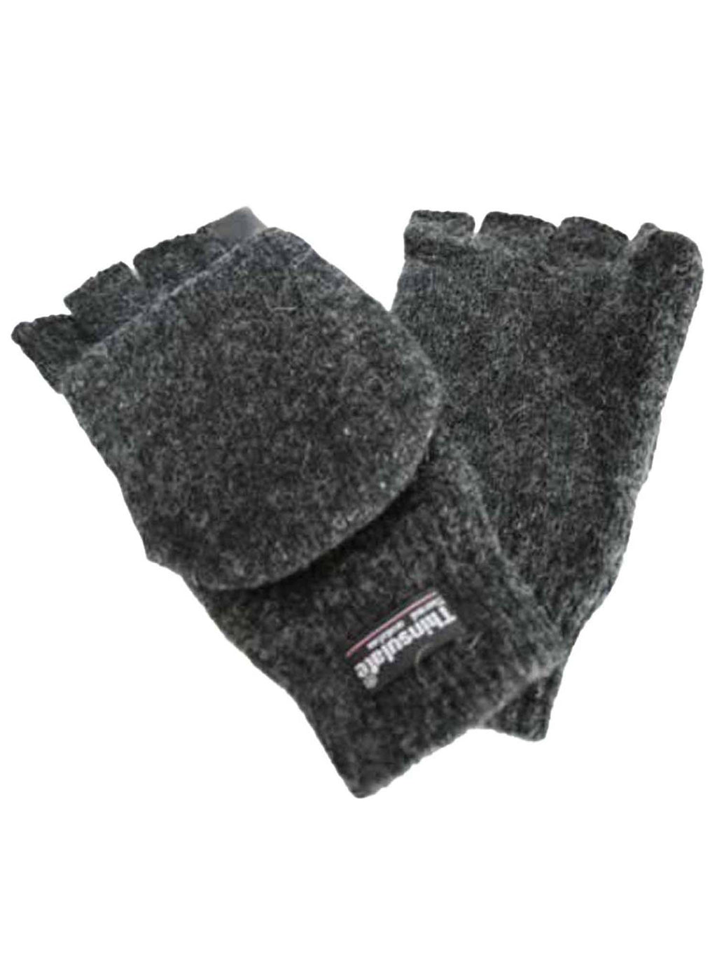 Mens Rag Wool Fingerless Convertible Gloves