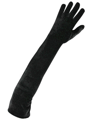 Velvet Black Long 3/4 Opera Arm Length Evening Gloves