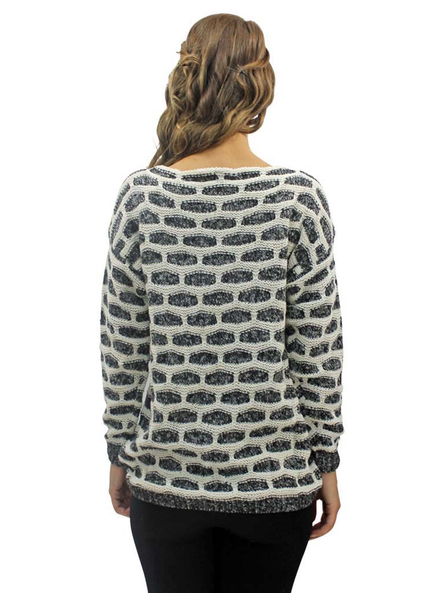 Black & White Brick Pattern Knit Sweater