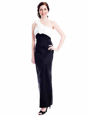 Long Taffeta Gown With Rosette Shoulder