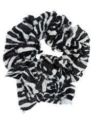 Black & White Zebra Long Scrunched Plush Scarf