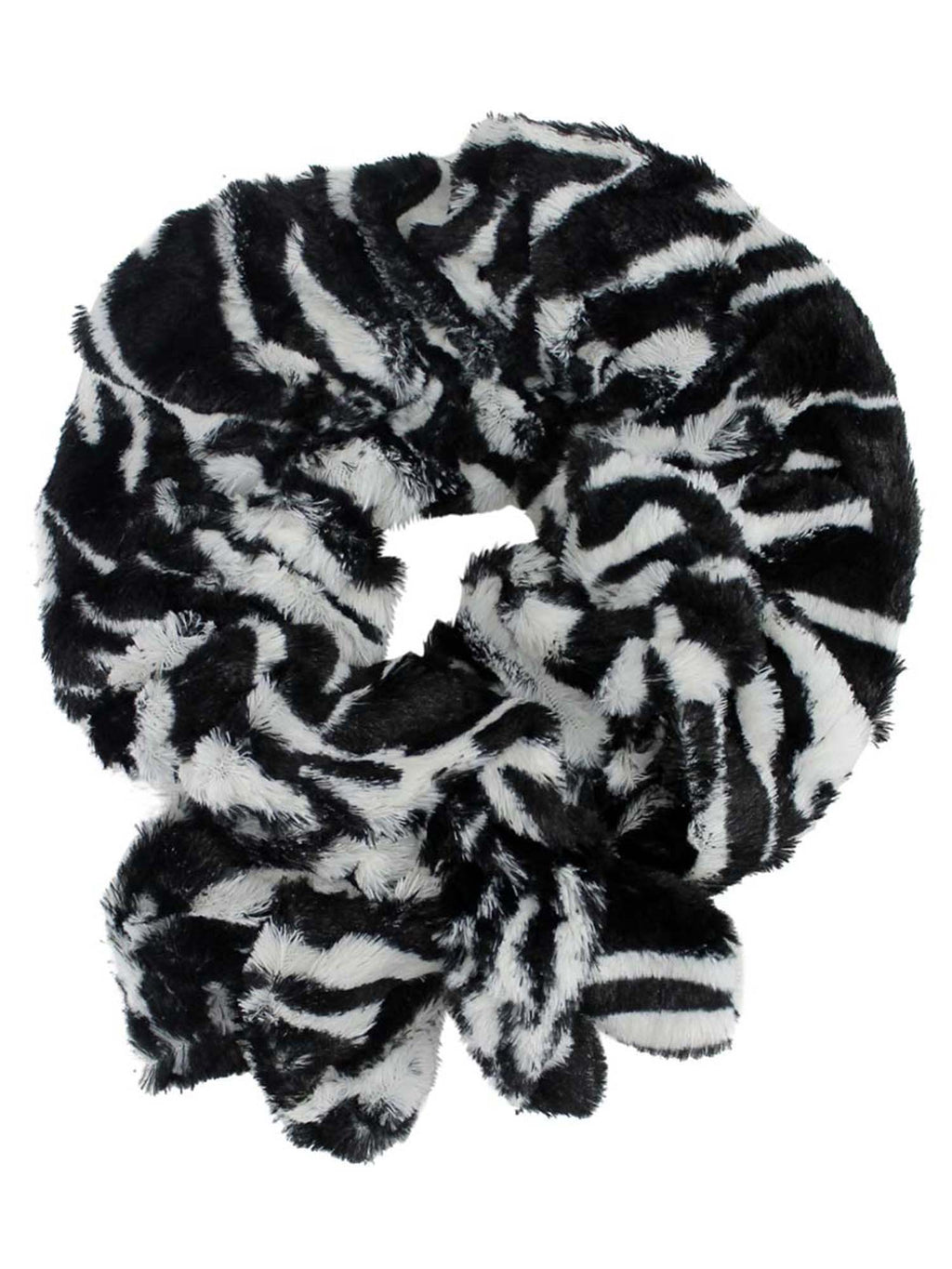 Black & White Short Scrunched Plush Scarf