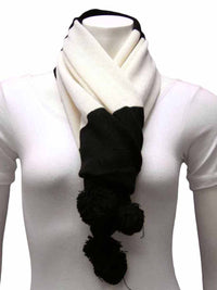 Black & White Bold Color Block Scarf With Pom Poms