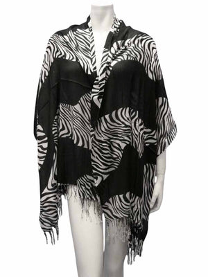 Animal Print Scarf Wrap With Fringe
