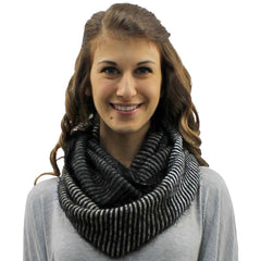 Striped Fuzzy Eyelash Knit Unisex Winter Infinity Scarf