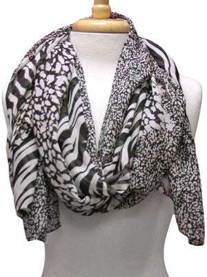 Chiffon Animal Print Sheer Scarf
