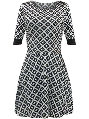 Black & White Diamond Print Skater Dress With Sleeves
