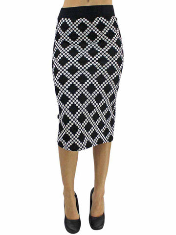 Black & White Diamond Print Pencil Skirt Size Small