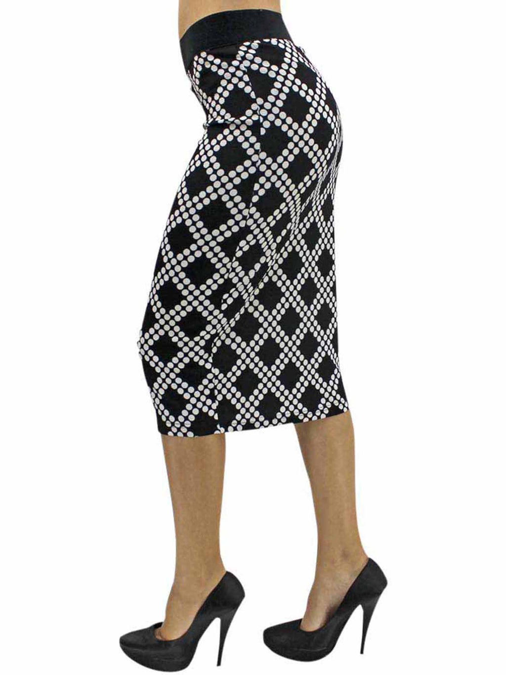 Black & White Diamond Print Pencil Skirt