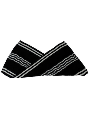 Black & White Striped Cable Knit Unisex Winter Infinity Scarf