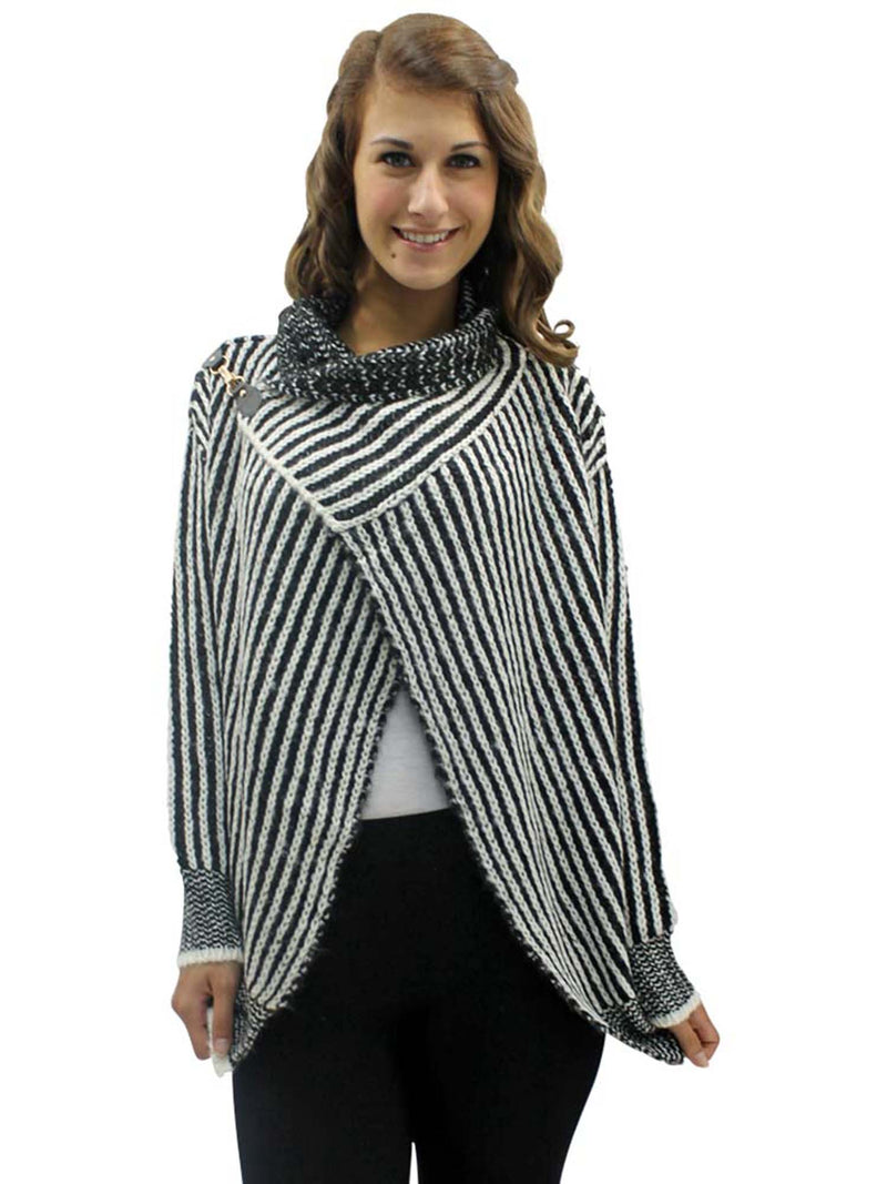 Striped Black & White Draped Cardigan Sweater