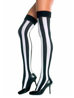 Black & White Vertical Stripe Thigh High Stockings