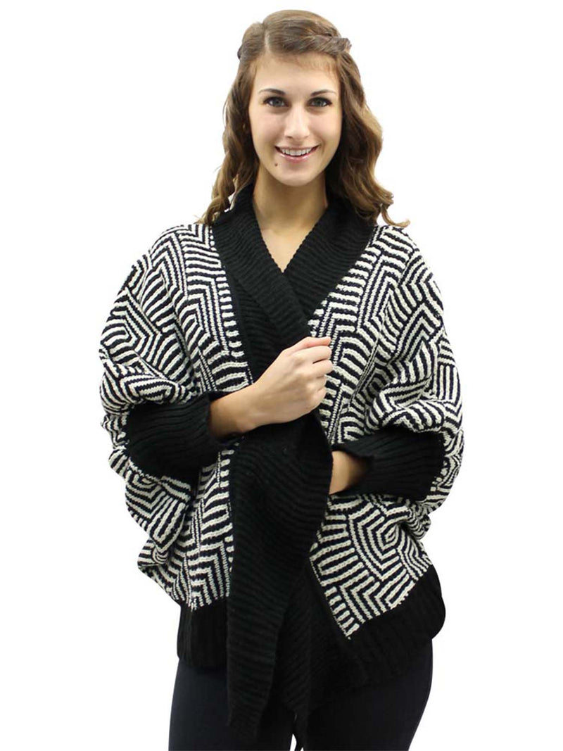 Abstract Print Open Front Cardigan Sweater