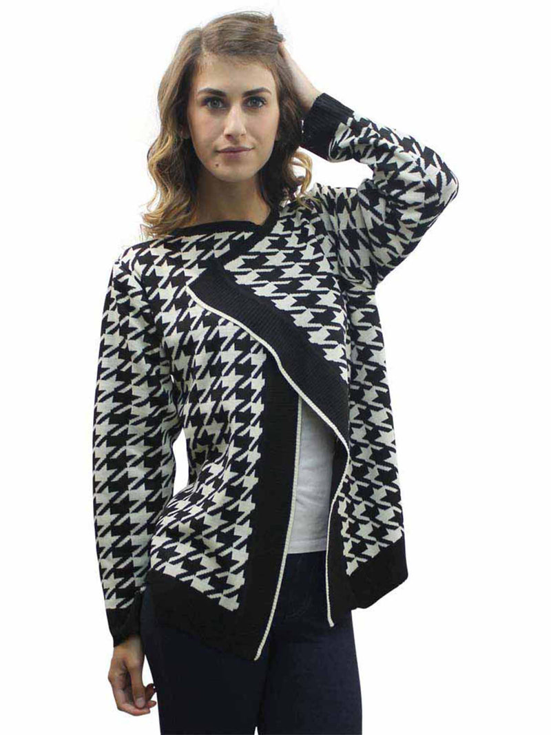 Bold Houndstooth Long Cardigan Sweater
