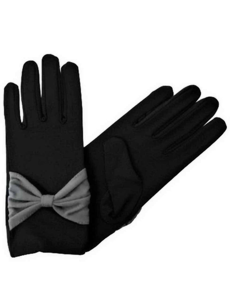 Wrist Length Gloves For Women With Bow Accent