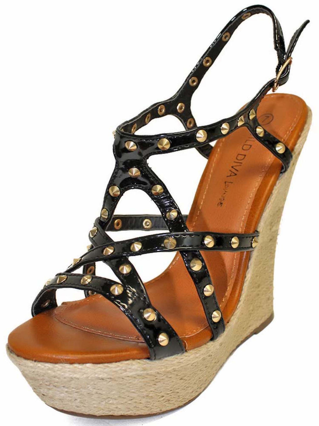 Gold Studded Strappy Wedge Sandals