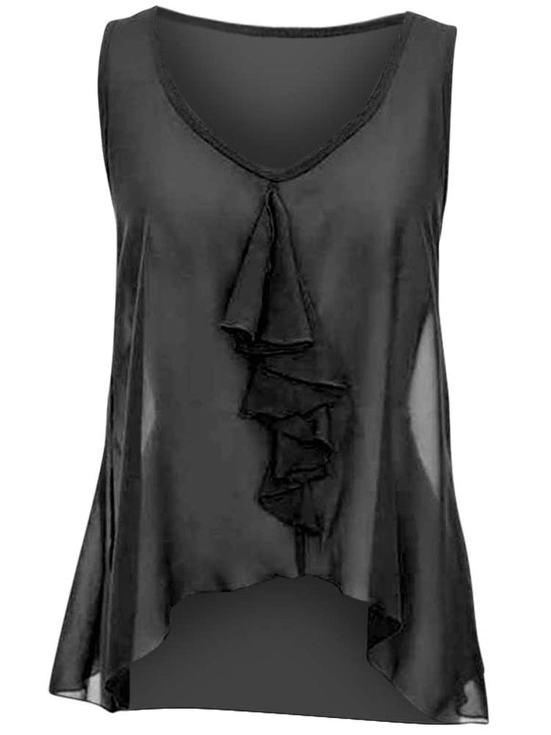 Sleeveless Sheer Ruffled Top