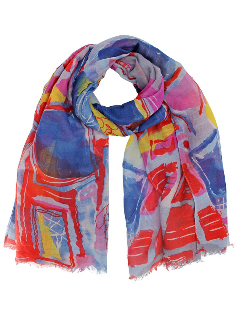Blue Colorful Art Deco Print Long Scarf