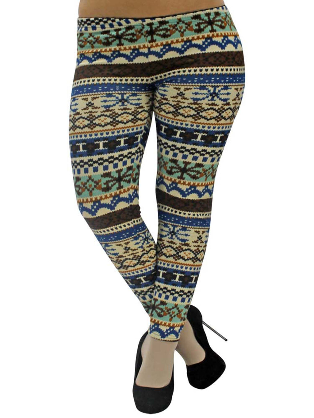 Plus Size Colorful Snowflake Print Leggings
