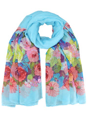 Blue Light Scarf With Colorful Floral Print