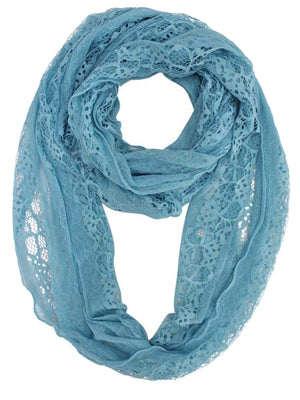 Blue Lacy Sheer Circle Scarf