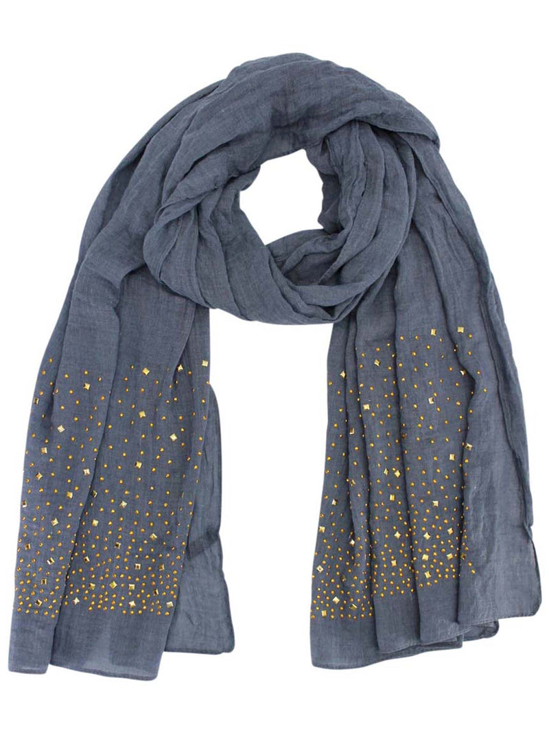 Light Long Scarf With Golden Studs