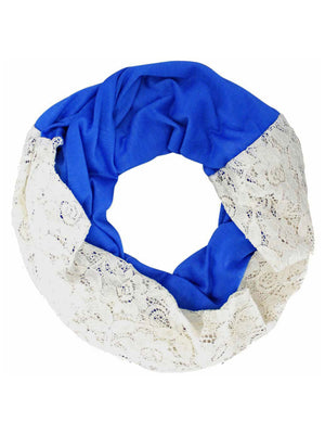 Jersey Knit & Lace Lightweight Circle Infinity Scarf