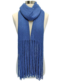 Soft Long Knit Scarf With Fringe