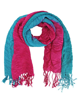 Pleated Two-Tone Light Scarf Shawl