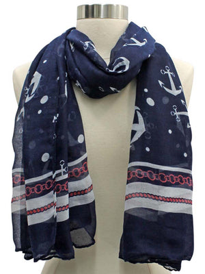 Anchor Print Lightweight Scarf Shawl