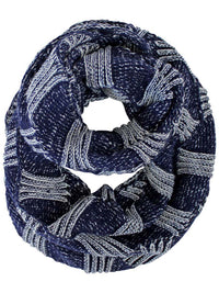 Two-Tone Knit Unisex Winter Infinity Scarf