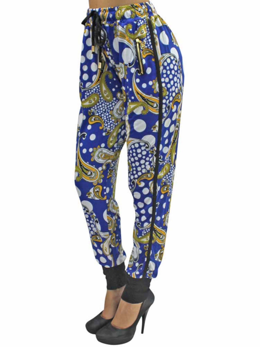 Blue Colorful Paisley Jogger Pants With Tuxedo Stripe